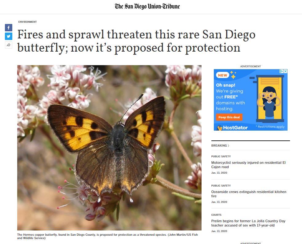 SD County Endangered Species Act Protections